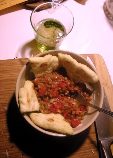 Lentil Stew, Flat bread and Coopers beer