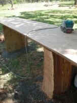 Base slab of Red Stringy becomes a table
